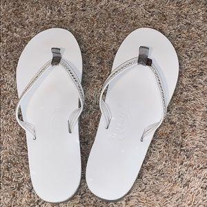 White rainbow flip flops